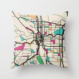 Colorful City Maps: Portland, Oregon Throw Pillow