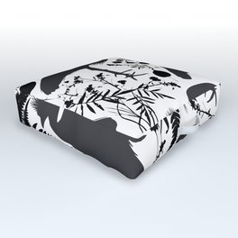 Black crowned crane with grass and flowers black silhouette Outdoor Floor Cushion