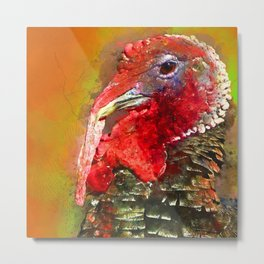 Thanksgiving Turkey, Turkey Painting, Turkey Art, Thanksgiving Decor, Turkey Animal, Turkey Art, Metal Print