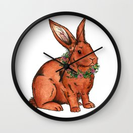 Flower Bunny Rabbit Wall Clock