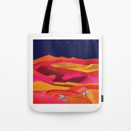 Children Play on Sunset Colored Dunes Tote Bag