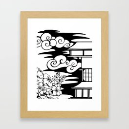 Cherry Blossoms and Pagoda Framed Art Print