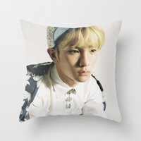 shinee Throw Pillows featuring Key - SHINee by Felicia