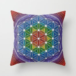 Rainbow Happy Flower of Life Throw Pillow