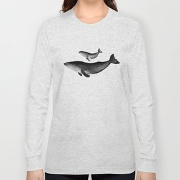 Whales, black and white Long Sleeve T-shirt