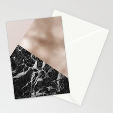 Layered rose gold and black campari marble Stationery Cards