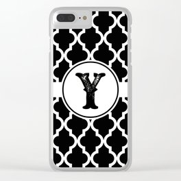 Black Monogram: Letter Y Clear iPhone Case