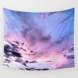 fly up to the blue pink sky Wall Tapestry