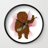 chewbacca Wall Clocks featuring chewbacca by Lalu - Laura Vargas