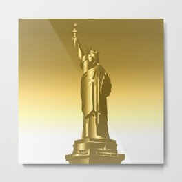 Gold Statue of Liberty Metal Print