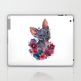 Neo Traditional Sphynx cat and flowers Laptop & iPad Skin