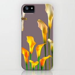 GOLD CALLA LILIES & DRAGONFLIES ON GREY iPhone Case