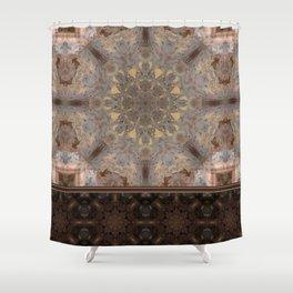 Copper Brown Terracotta Mandala and Tile Shower Curtain