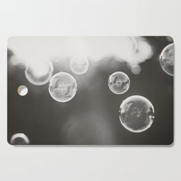 Bubble Photography, Black and White Bathroom Art, Laundry Room Photo Cutting Board