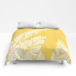 Banana Leaves on Yellow #society6 #decor #buyart Comforters
