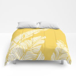 Banana Leaves on Yellow #society6 #decor #buyart Comforters