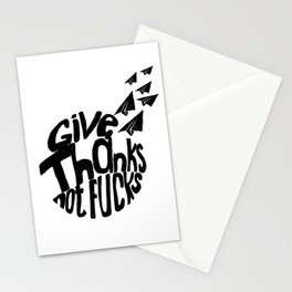 Give Thanks Typography Doodle Black Stationery Cards
