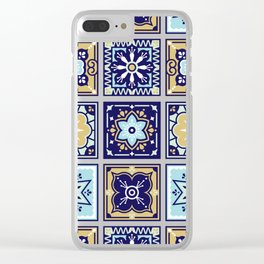 Talavera Mexican Tile – Mint & Navy Palette Clear iPhone Case