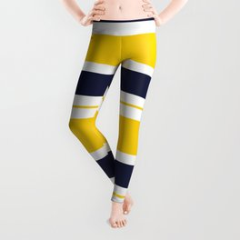 Yellow and Blue Horizontal Lines Stripes Leggings