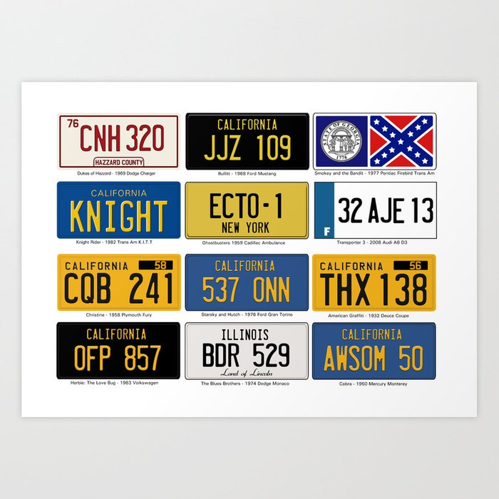 Famous Number Plates Art Print
