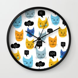Very grumpy cats saying NO to pretty much everything Wall Clock