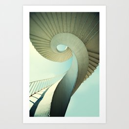 Spiral staircase in pastel tones Art Print