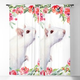 White Rat with Flowers Watercolor Floral Pattern Animal Blackout Curtain