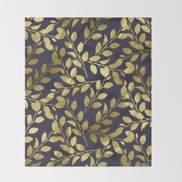 Gold Leaves on Navy Throw Blanket