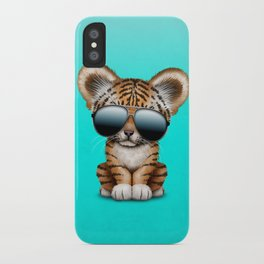Cute Baby Tiger Wearing Sunglasses iPhone Case