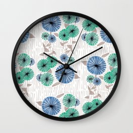 Blue & Green Flower Pattern Wall Clock