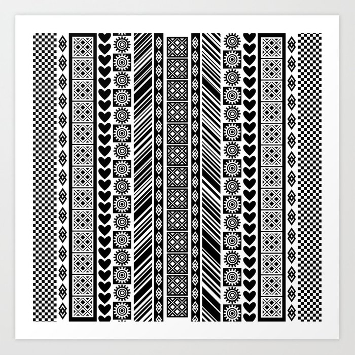 black and white adinkra symbol african print pattern art print by