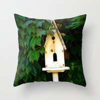 verse Throw Pillows featuring Birdhouse Verse by 3 Chics Couture