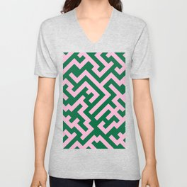 Cotton Candy Pink and Cadmium Green Diagonal Labyrinth Unisex V-Neck