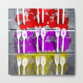 fork and spoon with splash painting texture abstract background in pink red yellow Metal Print