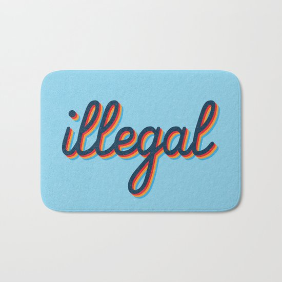 Illegal - blue version Bath Mat