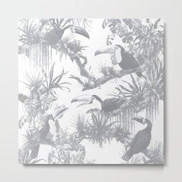 Toucans and Bromeliads - Sharkskin Grey Metal Print