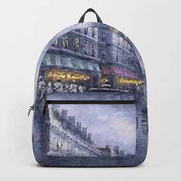 City of Lights, Eiffel Tower, Twilight Paris, France Street Scene landscape painting Backpack