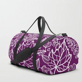 Plum Maple Leaves Duffle Bag