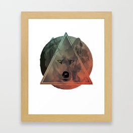 Wolf Galaxy (Green) Framed Art Print