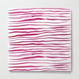 Irregular watercolor lines - pink Metal Print