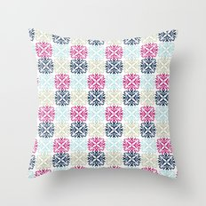 Floral Geometric - Navy & Pink Throw Pillow