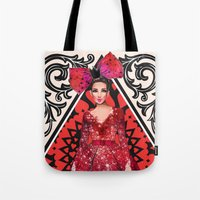 kardashian Tote Bags featuring Queen of Hearts by Sara Eshak