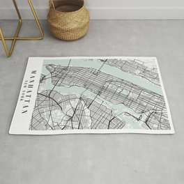 Manhattan New York Blue Water Street Map Rug