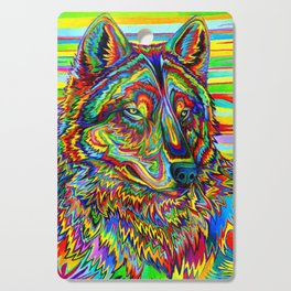 Colorful Psychedelic Rainbow Wolf Cutting Board
