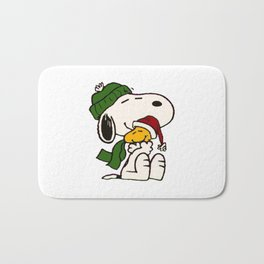 Snoopy And Woodstock Embracing Christmas Bath Mat