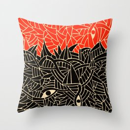 - fall : a red storm and the sea - Throw Pillow