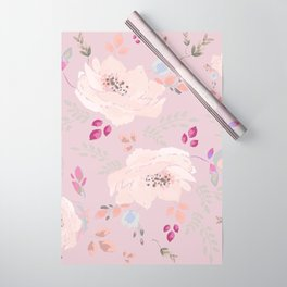 Watercolor blooming roses, tulips, and leaves contrast pinks Wrapping Paper
