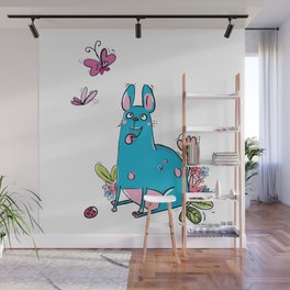 Blue Dog Butterfly Wall Mural