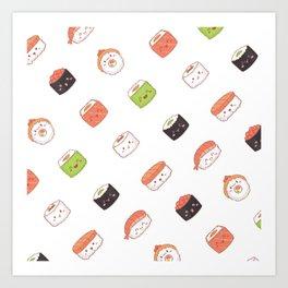 Sushi Cutie Pattern Art Print