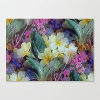 Canvas Prints featuring Pink yellow purple flowers pattern by CatyArte